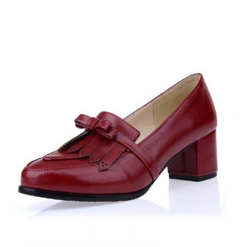 Charm Fot Vintage Womens Chunky Häl Oxfords Skor Skor Vinröd