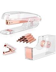 ALSISK Desk Accessory Kit,Acrylic Stapler Set, Tape Dispenser, Staple Remover with 1000pcs 26/6 Staples -Rose Gold