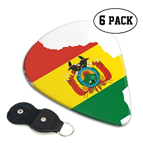 RZM YLY Clipart Bolivia Flag Map Guitar Picks 6 Pack- Universal Plastic Celluloid Guitar Picks Holder Unique Guitar Gift
