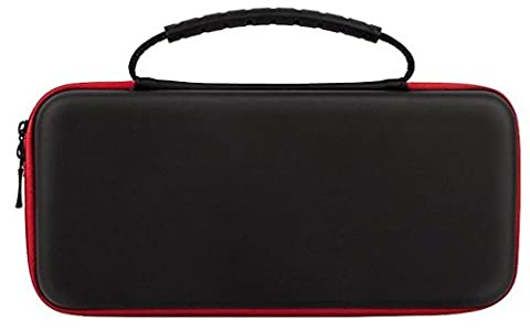 TNTi™ Nintendo Switch - Deluxe Carry Case Travel Bag Kit with advanced EVA hard shell, game storage, screen protector and anti static cloth (Red Stripe)