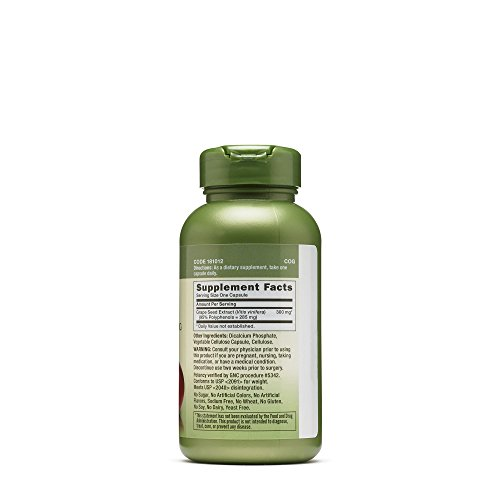 GNC Herbal Plus Grape Seed Extract 300 mg, 100 Capsules, 2 Pack, 200 Total Capsules by GNC (Image #2)
