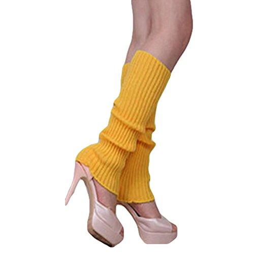 Song Qing Girls Teen 80s Dance Plain Ribbed Women Knit Crochet Long Leg Warmers Fancy Dress (Yellow)