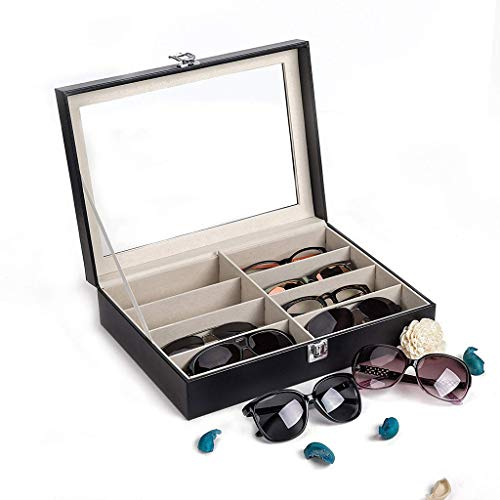 Haluoo Leather Sunglasses Organizer for Women Men, 8 Piece Eyeglasses Storage Eyewear Display Case Jewelry Watch Drawer Collection Case Glasses Storage Holder Box (Black)