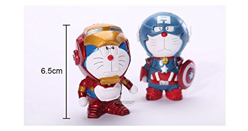 Anime Cartoon Doraemon Cosplay Iron Man Captain America Pvc Action Figure Collrctible Toys 2 Pack Drfg034