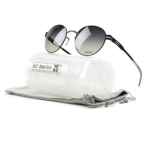 Brand New Authentic ic! berlin Sunglasses Claude Round Metal Frames (Black, Smokey Polarized) by IC BERLIN