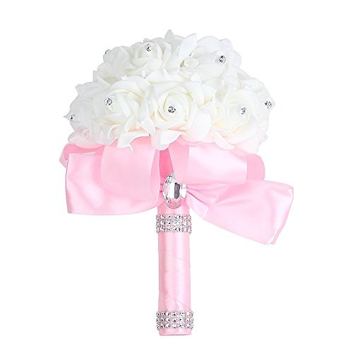 Church wedding decor amazon wedding bouquet febou big size pink bridesmaid bouquet bridal bouquet with crystals soft ribbons artificial rose flowers for wedding party and church junglespirit Images