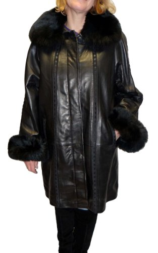 Knoles&Carter Swing Leather Coat with Fox Fur Collar-Black-4XL