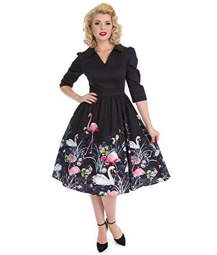 H&R london noir CYGNE & Flamingo années 50 style bordure Robe