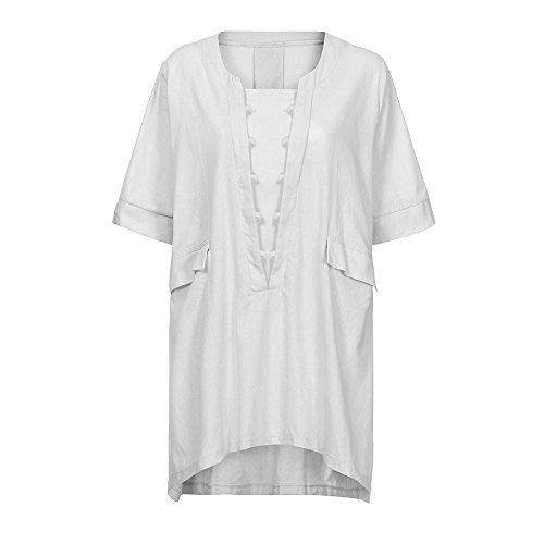 Tops Tops Camisole Blouse Dame Vetements Shirt Robe Tee Pocket Casual avec Pure Taille Manche Courte Femme Tops Couleur T Shirt Shirts Femme Lache Chemisier t Blanc Grande Lonshell Longue WpwqOHSBgx