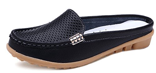 Aisun Women's Hot Slip On Round Toe Hollow Out Loafers Black