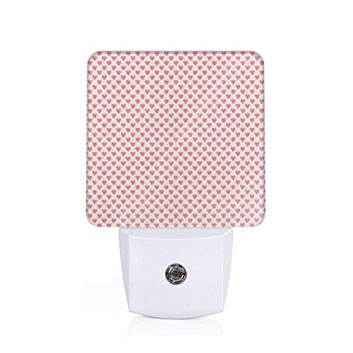 Colorful Plug in Night,Silhouette Polka Dots and Regularly Repeating Hearts On Beige Background,Auto Sensor LED Dusk to Dawn Night Light Plug in Indoor for Childs Adults]()