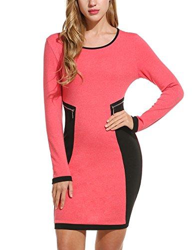 Zeagoo Damen Bodycon Kleid Wickelkleid mit Futter Ärmellos Elegante A-Linie Cocktailkleid Partykleid Rundhals Etuikleid
