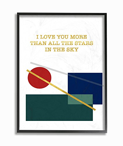 (Stupell Home Décor Love You More Than Graphic Modern Framed Giclee Texturized Art, 11 x 1.5 x 14, Proudly Made in USA)