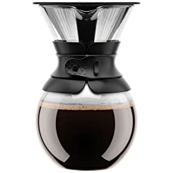 Bodum 11571-01 Pour Over Coffee Maker with Permanent Filter, 34 oz, Black
