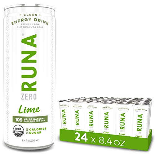 RUNA ZERO Organic Clean Energy Drink, Lime | High Caffeine Coffee Alternative | Sustained Energy Boost with No Jitters | Calorie Free & Sugar Free, 8.4 oz (Pack of 24)