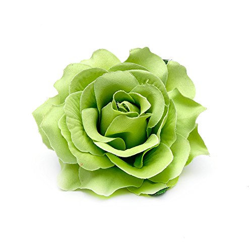 DreamLily Rose Flower Hair Clip Flamenco Dancer Pin up Flower Brooch BC10 (Green)