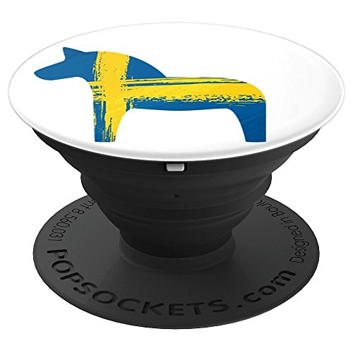Dala Horse Swedish Flag Painted Distressed Sweden Dalahost - PopSockets Grip and Stand for Phones and ()