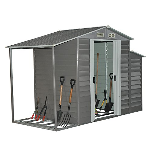 Outdoor Wood Storage Building (Outsunny 10'' x 5'' Metal Outdoor Garden Storage Shed w/ Firewood and Side Storage - Gray/White)