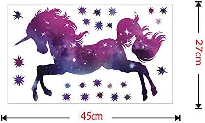 Unicornio Caballo de Pegatinas de Pared Colecci/ón Unicornios Colorido con Las Estrellas Infantiles Impreso Arte de Pared de Vinilo Pegatinas p/úrpura