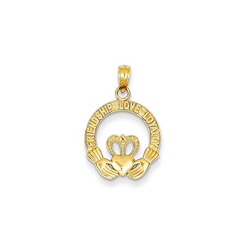 14k Satin Diamond-cut Flat-Backed Claddagh Pendant ()