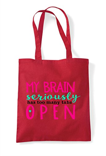 Open Too Seriously Tote Tabs Bag My Has Shopper Red Many Brain qSCwSa7
