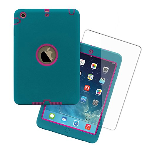 iPad Mini Case and Tempered Glass Screen Protector,Vogue Shop 3in1 Hybrid Hard PC Soft Silicone High Impact Defender Case Combo for iPad Mini 1 2 3 (Teal+Rose)