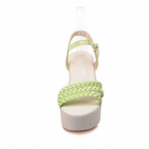 Womens Party Elegance Dress Buckle Carolbar Plait Fashion Green Sandals Platform Date dnCfqOZ