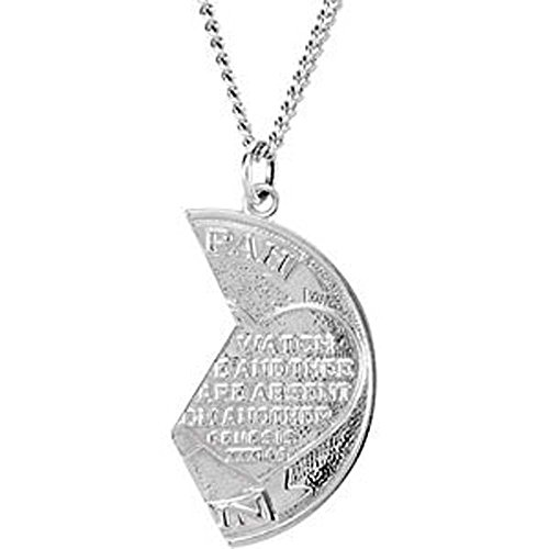 26.00x14.00 mm Right Miz Pah Coin Pendant in 14K White Gold