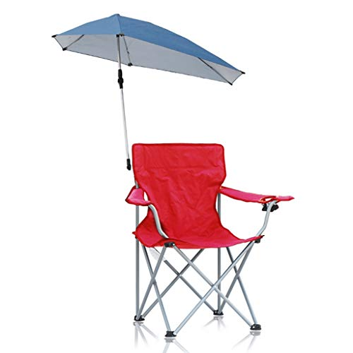 Price comparison product image Folding Beach Chair Leisure Garden seat Metal Camping Chair Multi-Purpose Fishing Chair Indoor Lazy Chair,  Detachable Awning Design (Color : Red,  Size : 484891cm)