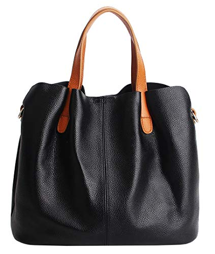 Molodo Womens Satchel Hobo Top Handle Tote Geuine Leather Handbag Shoulder Purse,Black,Large
