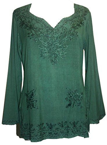 720 B Medieval Vintage Embroidered Top Blouse (2X, H Green)
