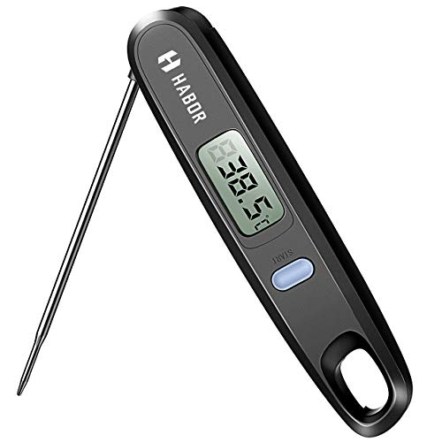 Habor Digital Cooking Kitchen Thermometer Instant Read Sensor with Foldable Probe for Food Baking Liquid Meat BBQ Grill Smokers, Classic Black ()