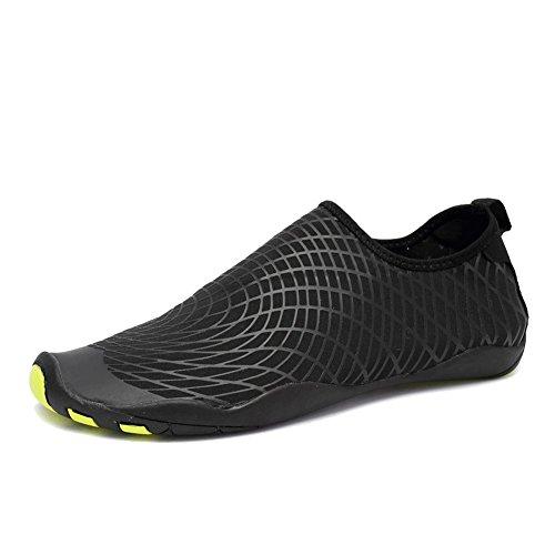 CIOR Männer Frauen Kinder Barfuß Quick-Dry Wasser Sport Aqua Schuhe mit 14 Drainage Löcher für Schwimmen, Wandern, Yoga, See, Strand, Garten, Park, Fahren, Bootfahren Sxx.w.schwarz