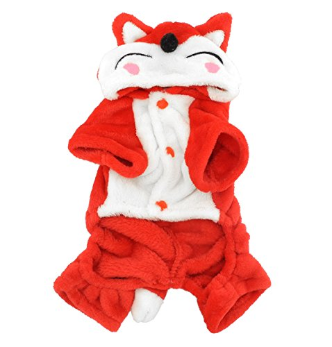 [SMALLLEE_LUCKY_STORE Fleece Fox Costume Hooded Jumpsuit Christmas Fancy Dress, Small, Red] (Fox Pet Costume)