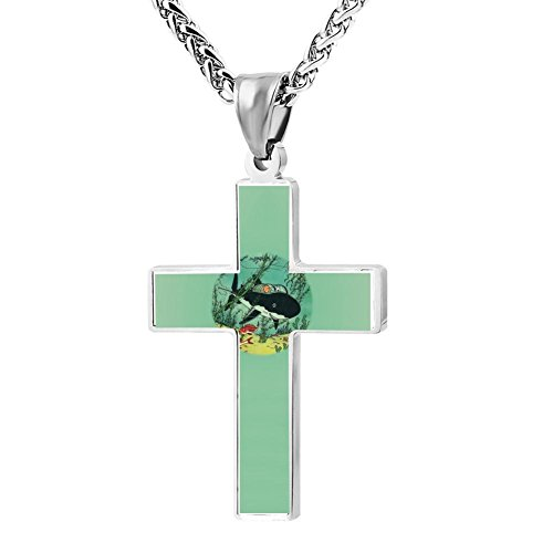 Cross Pendant Coral Reefs Cool Snowy Rouge Sea Zinc Alloy Necklace Ornaments Forman ()