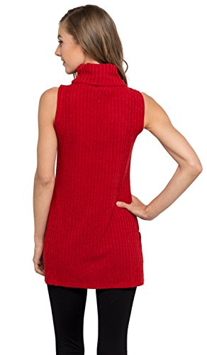 Velucci Womens Turtleneck Tunic Tank Top - Sleeveless Ribbed Sweater, (Red S)