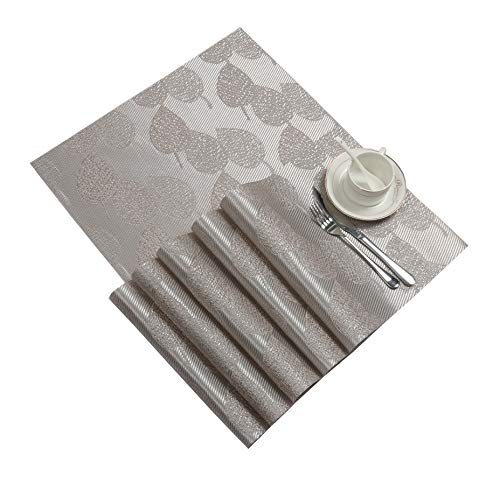SHACOS Kitchen Table Placemats Set of 6 Silver Leaf Woven Placemats Heat Resistant Wipe Clean Vinyl Table Mats (6, Silver Leaf)