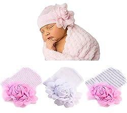 Xinshi Newborn Hat Soft Turban Baby Girl Big Bow Knot Cap (FBL(3PCS))