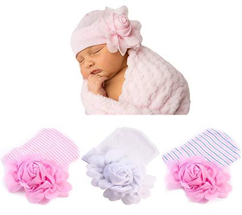 Xinshi Newborn Hat Soft Turban Baby Girl Big Bow Knot Cap (FBL(3PCS)) (Crocheted Hats For Girls)