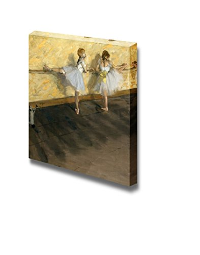 1877 Canvas Framed (Dancers Practicing at the Barre by Edgar Degas - Canvas Wall Art Famous Fine Art Reproduction| World Famous Painting Replica on Wrapped Canvas Print Modern Home Decor Wood Framed & Ready to Hang - 24