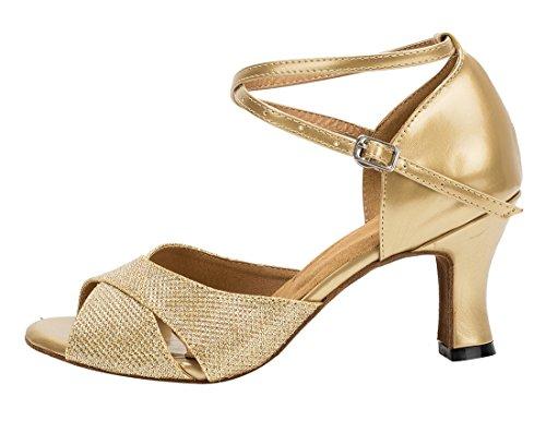 Salsa Dance Shoes Synthetic Heel Peep Wedding Fashion Modern Gold Glitter Toe Ballroom Womens TDA Latin 7cm Tango w1PxYf