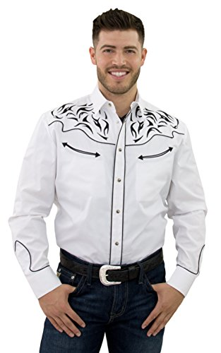 STARR Western Cowboy Shirt for Men by Snap Front, Long Sleeve, Embroidered, Retro | Flame Design, Smile Pockets | Trim Fit SHC001-WHITE-Size-XXL (Retro Snap Shirt Western)