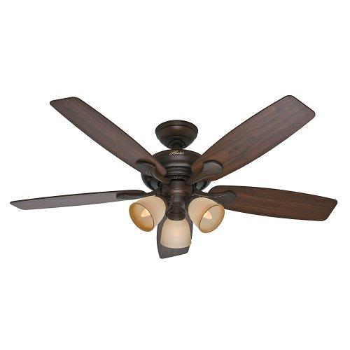Hunter 53051 Conway 52-Inch Cocoa Ceiling Fan with Five Walnut/Stained Oak Blades and a Light Kit For Sale