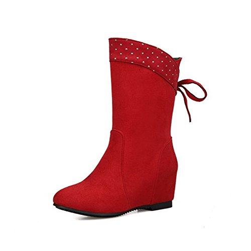 Allhqfashion Women's Solid Kitten-Heels Round Closed Toe Fabric Surface Pull-on Boots Red U1RAqSAR8