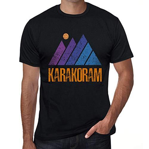 One in the City Hombre Camiseta Vintage T-Shirt Gráfico Mountain KARAKORAM Negro Profundo