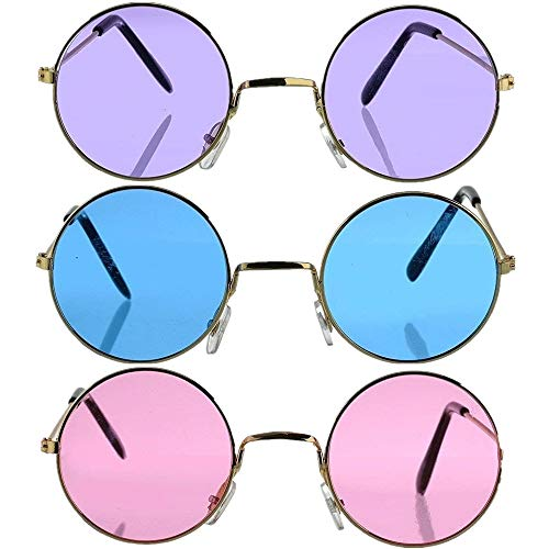 Set of 3 Round Hippie Sunglasses, John Lennon Style Colored Glasses Costume Accessories