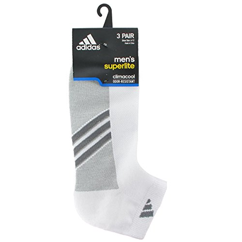 adidas Mens Climacool Superlite Low Cut Socks (Pack of 3), White/Onix/Lead, One Size