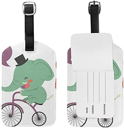 Lindo Elefante Bicicleta Cuero Equipaje Equipaje Maleta Etiqueta ...