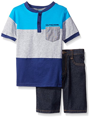 U.S. Polo Assn. Baby Boys' 2 Piece Color Block Pocket Henley and Denim Short Set
