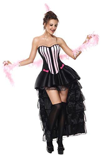 Black Burlesque Costumes (Luruiya Women's Sexy Naughty In Paris Burlesque Adult Dancing Costume Black-pink Small/Medium)